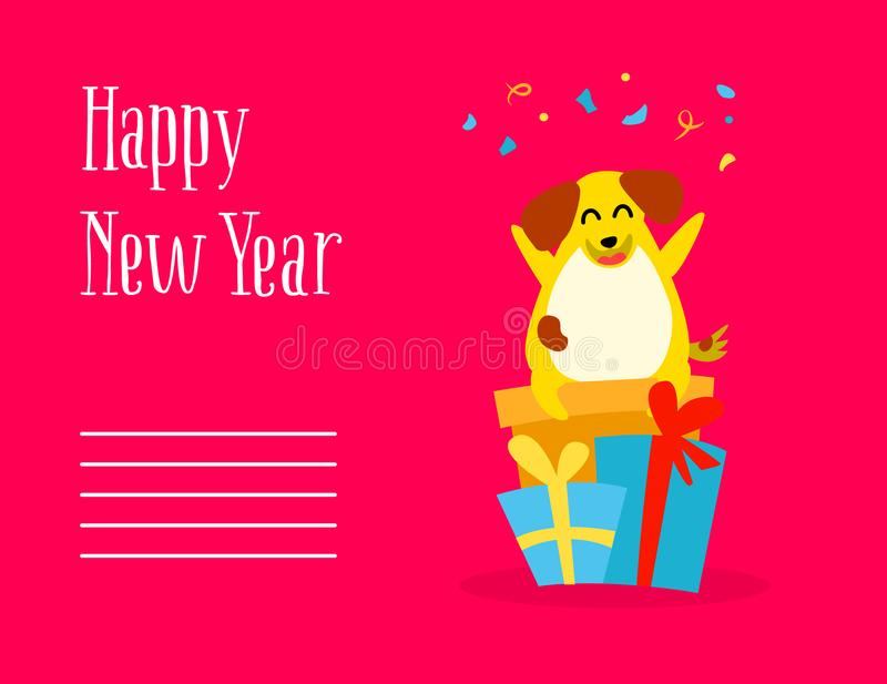 Happy New Year postcard with fun cartoon dog, gifts and confetti on red background. Flat style. royalty free illustration