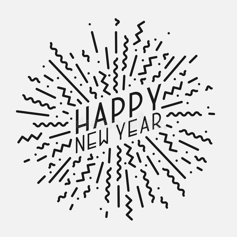 Happy New Year poster, card, banner. Trendy background in memphis style royalty free illustration