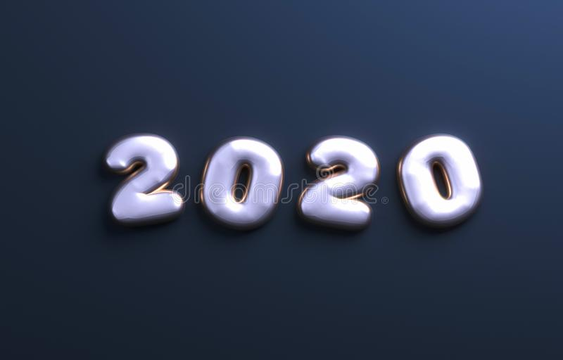 Happy New Year 2020 poster. Christmas background with big 2020 numbers. 3d rendering. stock illustration