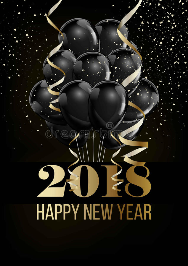 Happy New Year 2018 Christmas ball balloon decoration confettti vector golden background vector illustration