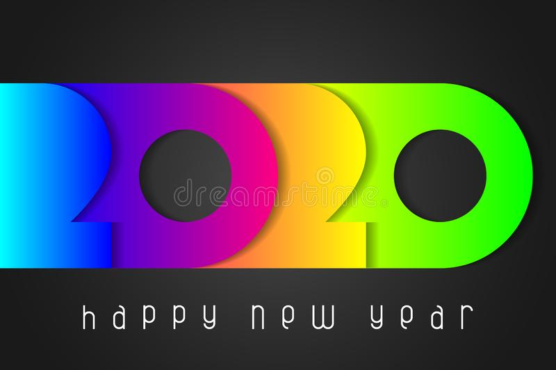 Happy New Year 2020 poster with numbers cut out of colored paper. Winter holidays greeting or invitation. vector illustration