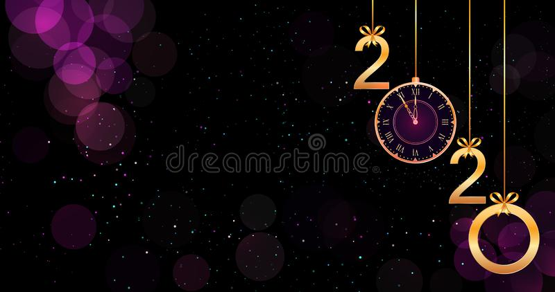 2020 Happy New Year purple background with bokeh effect, hanging golden numbers, ribbon bows and vintage clock. vector illustration