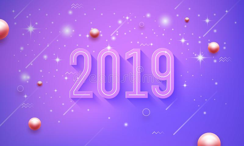 2019 Happy new year in purple, pink vector background with shining small star royalty free illustration