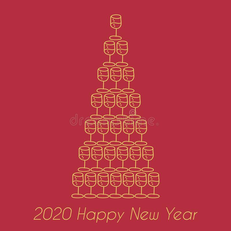 Happy New Year 2020. Pyramid of champagne glasses in the form of Christmas tree, hand drawn vector illustration vector illustration