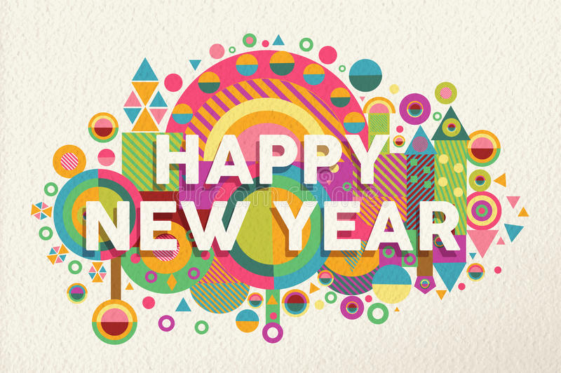 Happy new year 2015 quote illustration poster. Happy new year 2015 quote design illustration. Ideal for web, greeting card and print poster. EPS10 vector file stock illustration