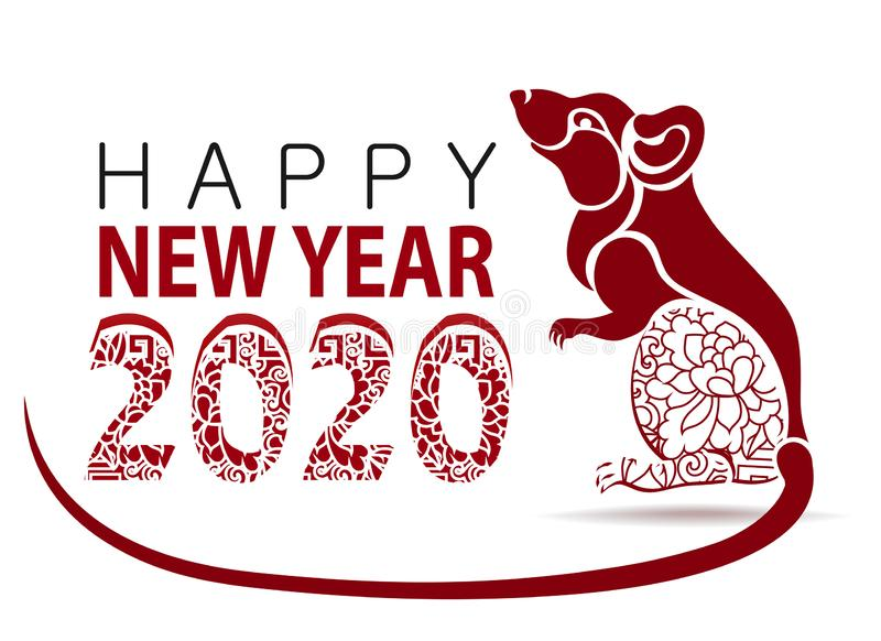 Happy new year 2020. Year of the Rat. Vector Rat illustration stock images