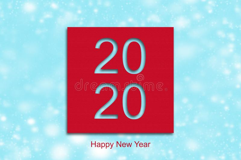 2020. Happy New Year, on a red background. Happy New Year greeting card stock photos
