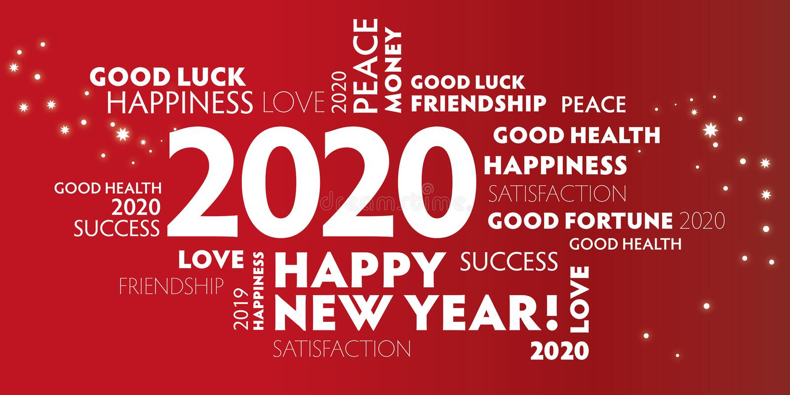 2020 happy new year red background stock illustration