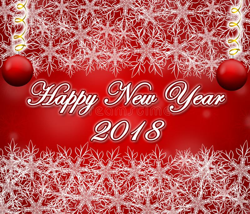Happy new year 2018 red background with snowflakes frame. stock photos