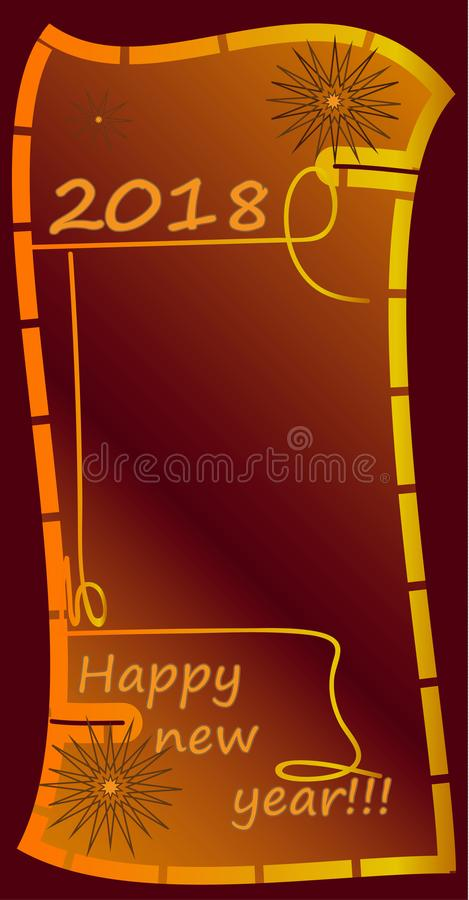 Happy new year !!! 2018 red greeting card. royalty free stock image