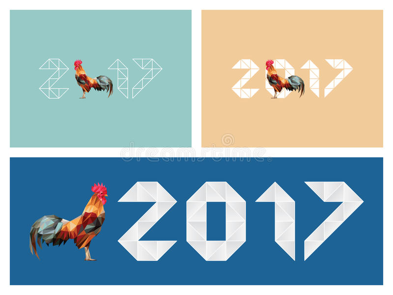 Happy new year 2017 red rooster low polygon stock illustration