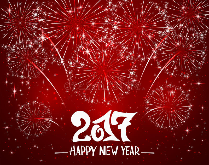 Happy New Year and red sparkle firework. Lettering Happy New Year 2017 and sparkling fireworks on red shiny background, holiday greeting, illustration vector illustration