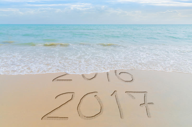 Download Happy New Year 2017 Replace 2016 Concept On The Summer Sea Beach.  New Year