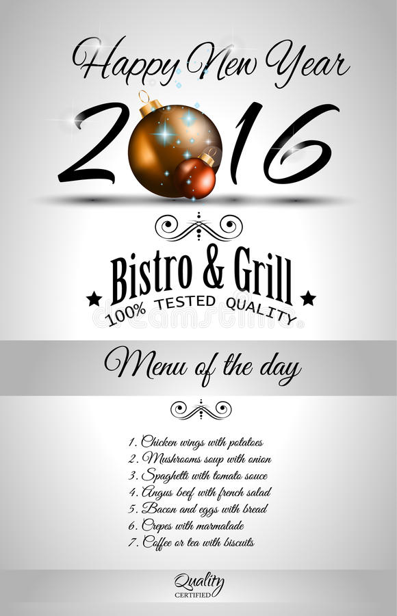 Happy New Year Restaurant Menu Template Stock Vector