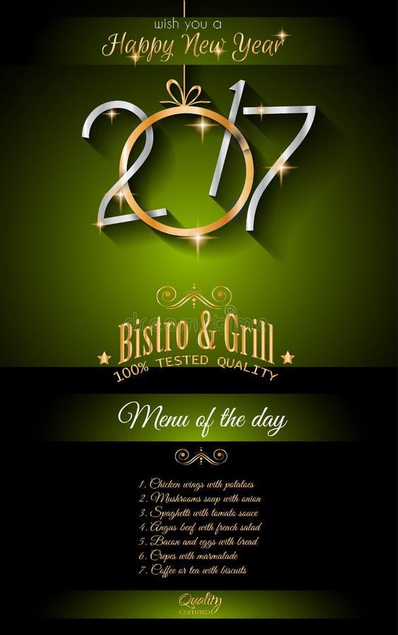 2017 Happy New Year Restaurant Menu Template Background
