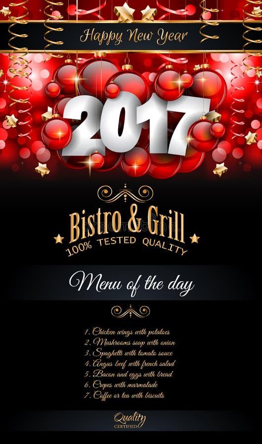 2017 Happy New Year Restaurant Menu Template Background Stock Vector