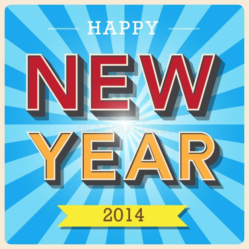 Happy new year retro poster vector illustration