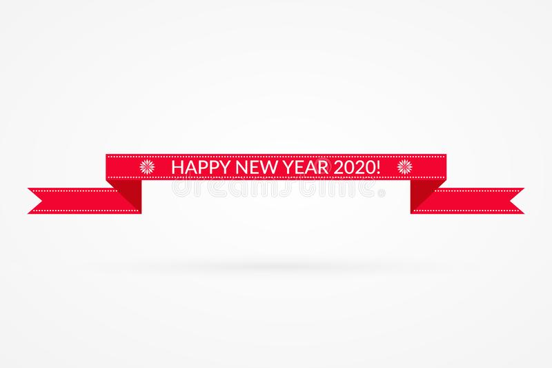 Happy New Year 2020 ribbon illustration. Winter holiday decoration vector symbol. Isolated red and white sign. Decorative icon stock illustration
