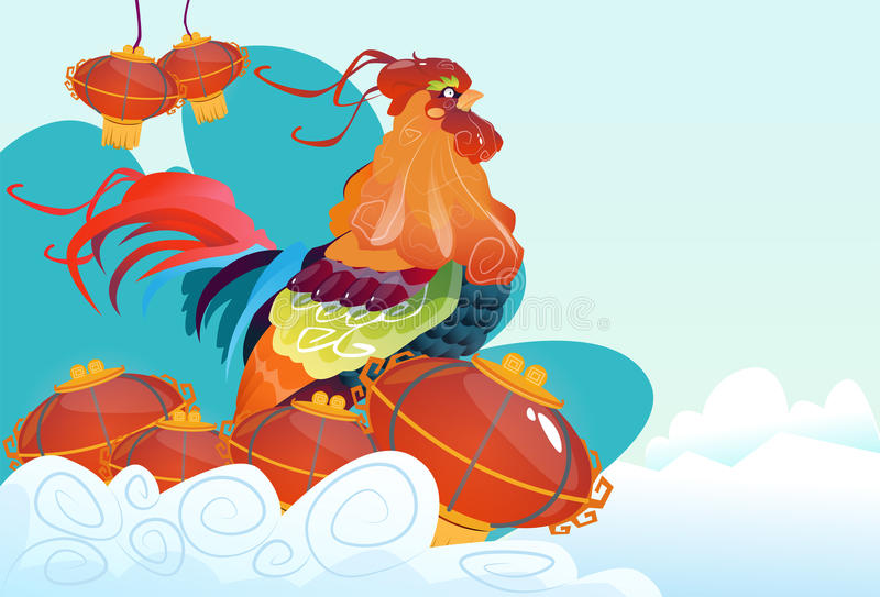 Happy New 2017 Year Rooster Bird Chinese Lantern Asian Horoscope stock illustration