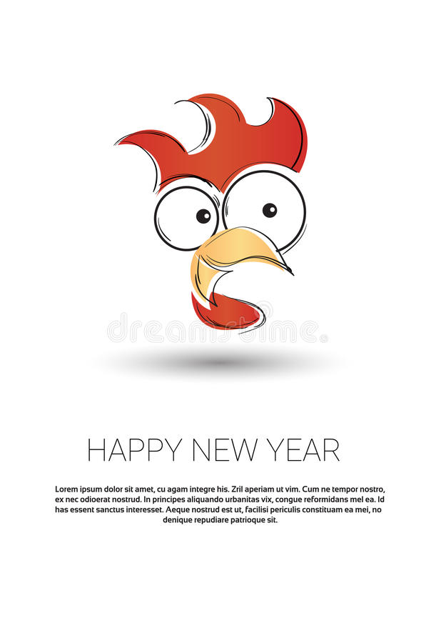 Happy New 2017 Year Rooster Bird Sign Asian Horoscope royalty free illustration
