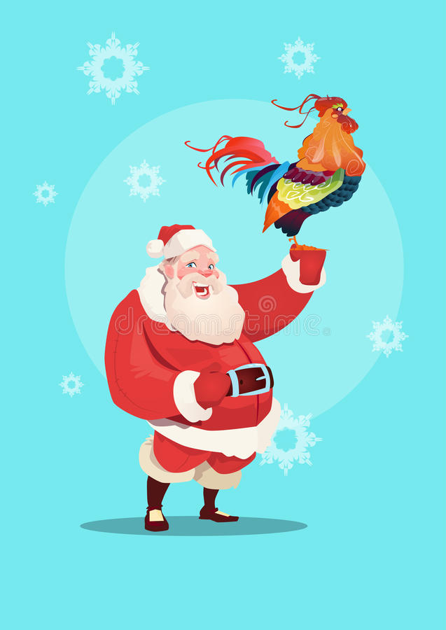 Happy New 2017 Year Rooster With Santa Clause Asian Horoscope Symbol vector illustration