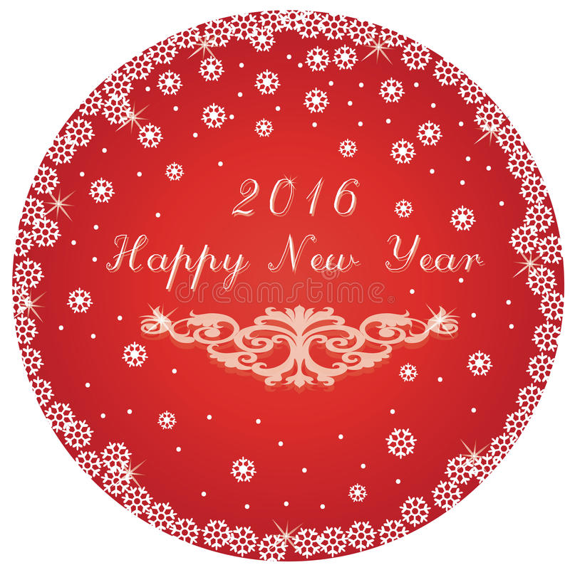 Happy New Year round circle red card. Vector royalty free illustration