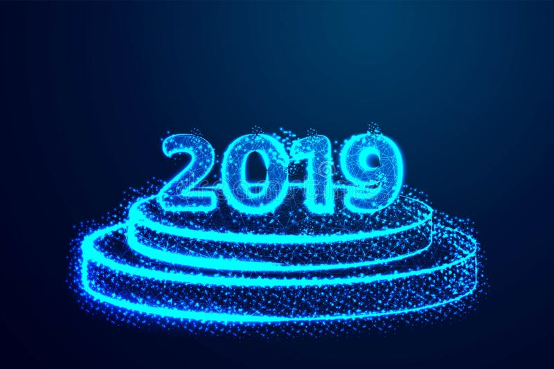Happy New year 2019. Round podium, pedestal or platform illuminated. Abstract low poly, Triangle, dot, line, polygon. Shine blue. royalty free illustration