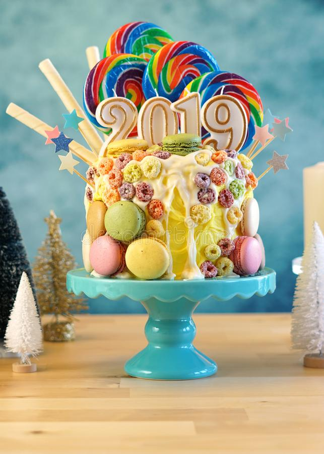 2019 Happy New Year`s Candy Land Lollipop Drip Cake  Stock Image