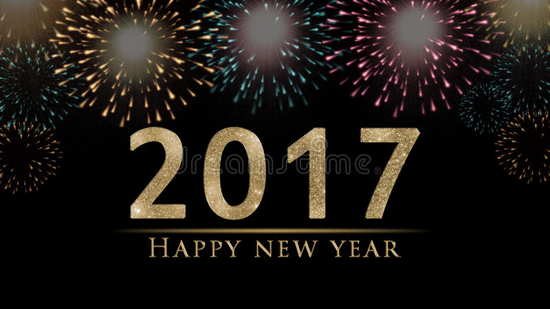 2017 Happy New Year`s eve illustration, card with colorful fireworks stock illustration