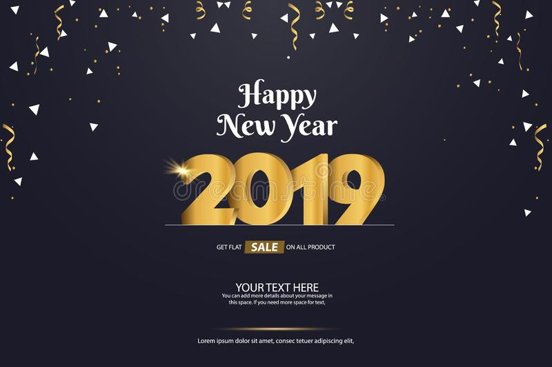 Happy New Year 2019 Sale Abstract Vector Background Template Design vector illustration