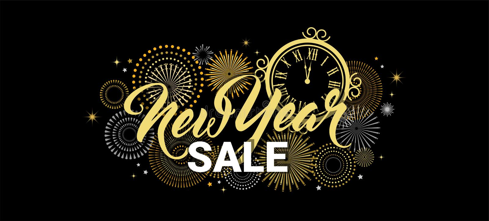 Happy New Year sale banner. vector illustration with Fireworks black Background. Vector Holiday Design for Premium. Happy New Year sale banner. illustration with