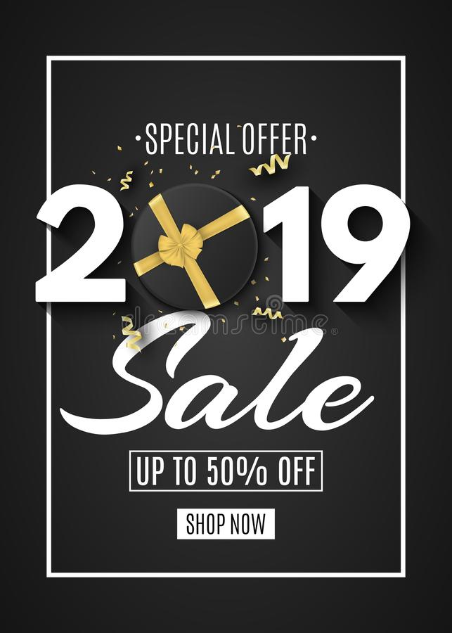 Happy new year sale 2019. Black gift box with a gold ribbon and bow on a black background. Golden confetti with serpentine. Callig stock illustration