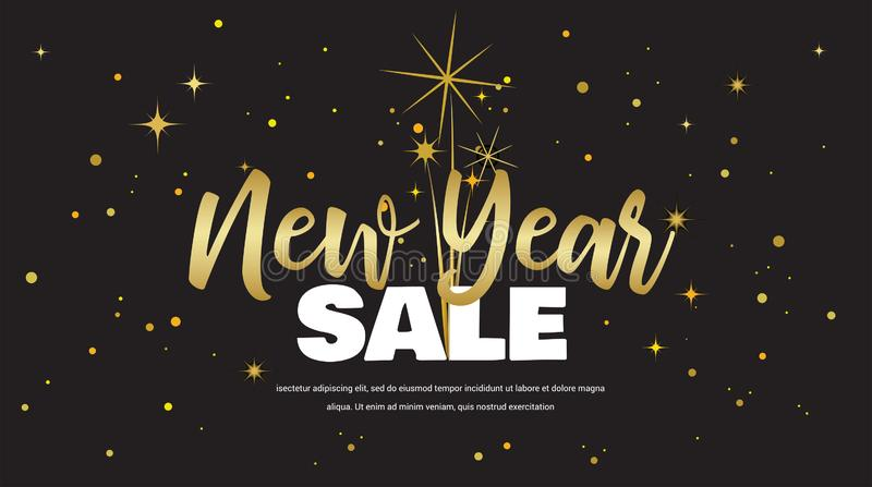 Happy New Year sale . vector illustration with Fireworks black Background. Vector Holiday Design for Premium Greeting. Happy New Year sale . illustration with vector illustration