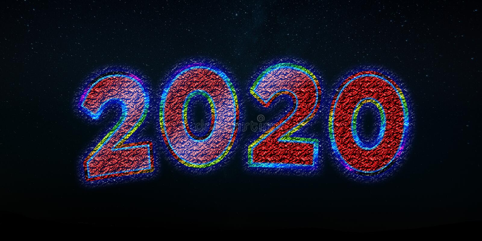 Happy new year sale 2020 text effect template background stock photography