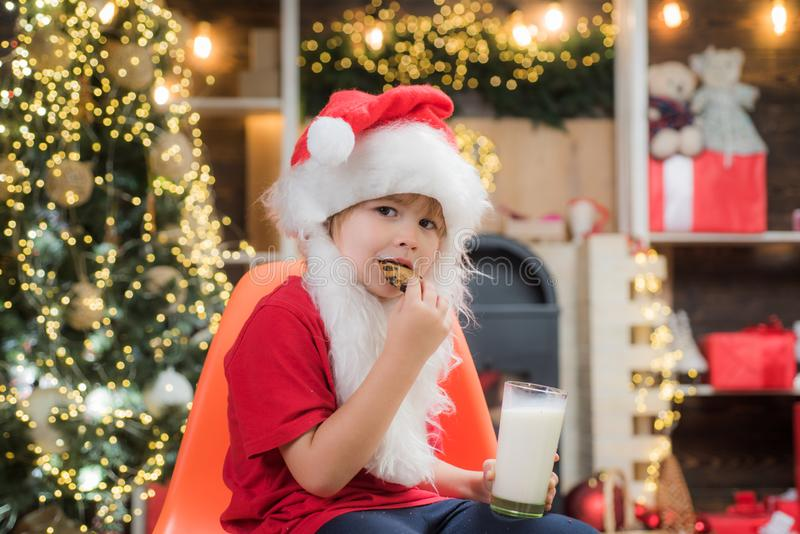 Happy new year. Santa Claus eating cookies and drinking milk on Christmas Eve. Portrait of little Santa child holding. Chocolate cookie and glass of milk stock photography