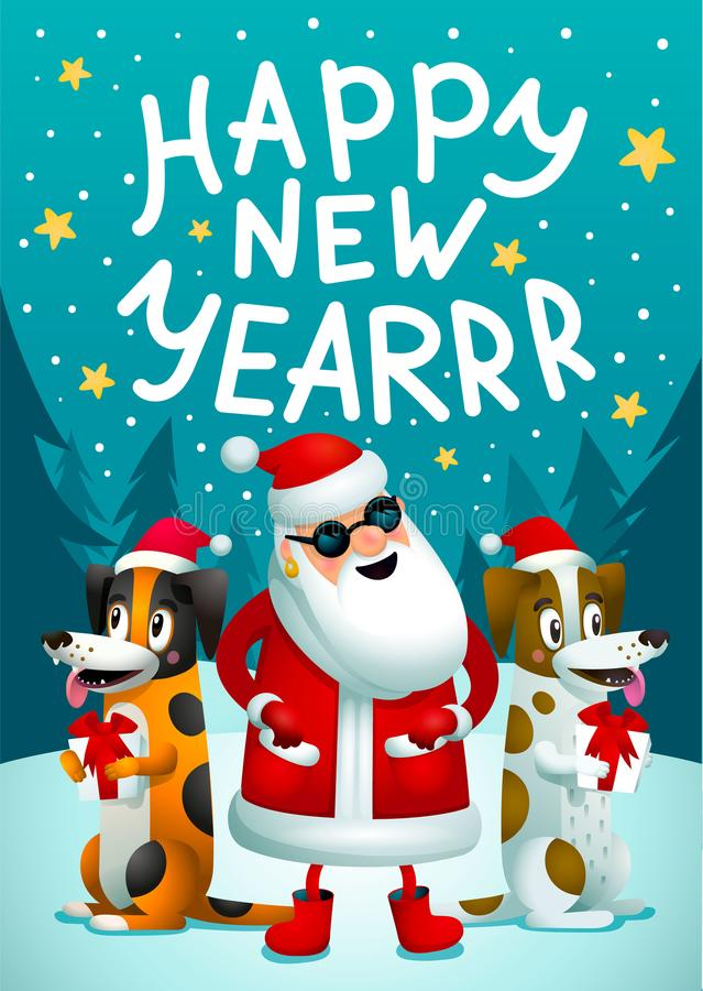 Happy New Year. Santa Claus And 2 Funny Dogs With Gifts. Christmas Hipster  Poster For Party With Merry Christmass Inscription. Xmas Greeting Card.