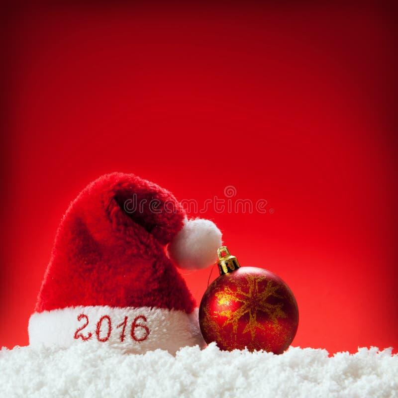 Happy new year 2016 santa hat . stock images