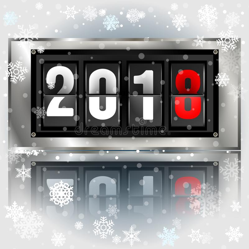 Happy New Year 2018 scoreboard vector realistic illustration. Mechanical clock design for greeting card vector illustration