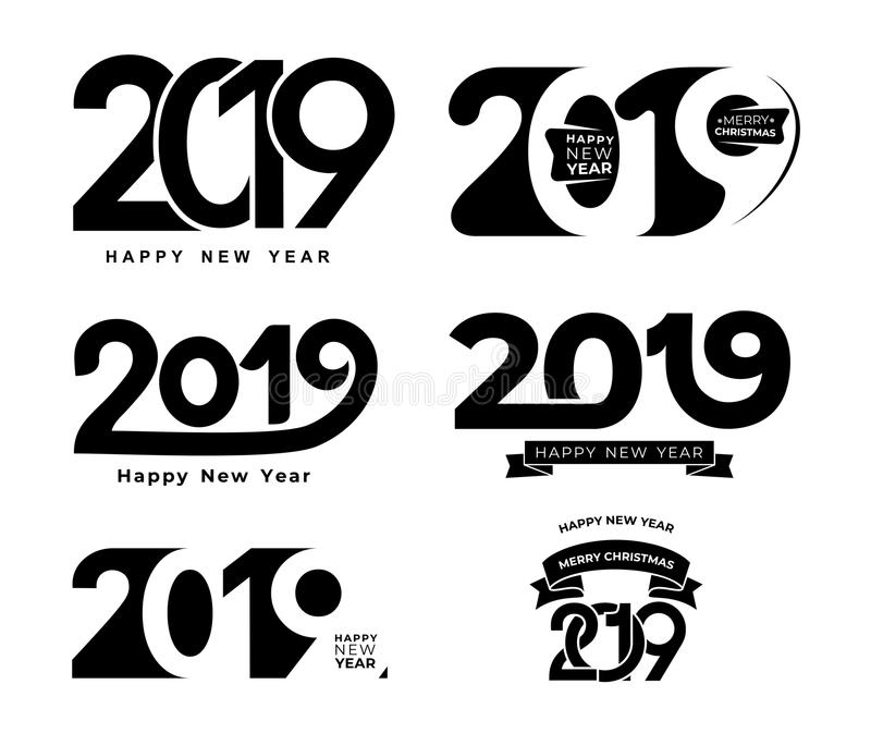 Happy New Year. Set of 2019 black number text design typography pattern. Design for greeting poster and cards, calendars, site, bu royalty free illustration