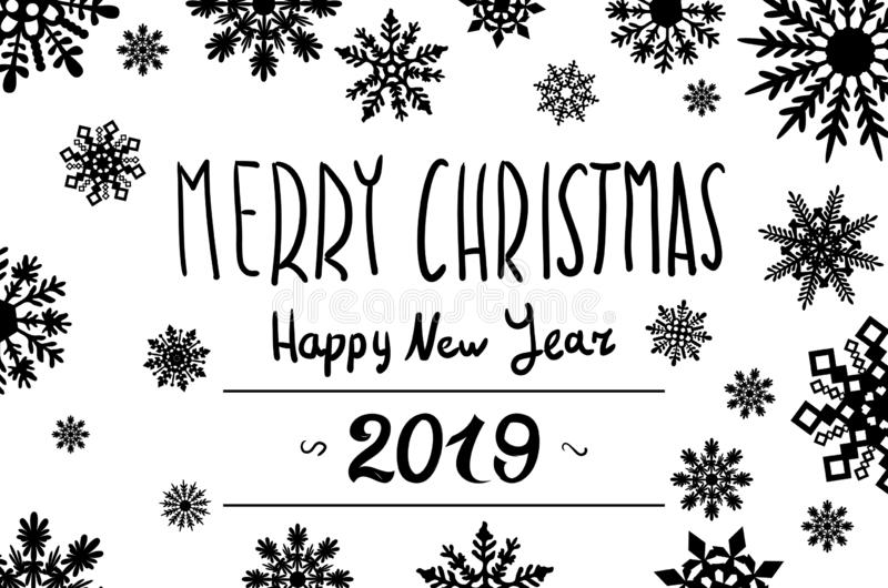 Happy New Year. Set of 2019 black number text design typography pattern. Design for greeting poster and cards, calendars, site, vector illustration
