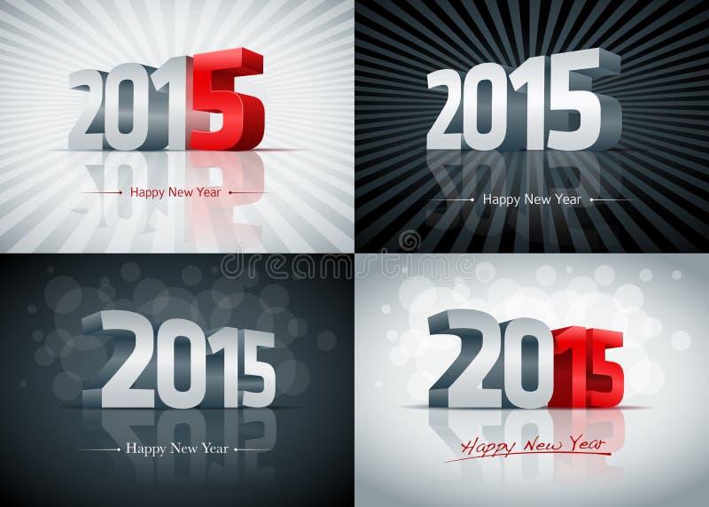 2015 Happy New Year Set royalty free illustration