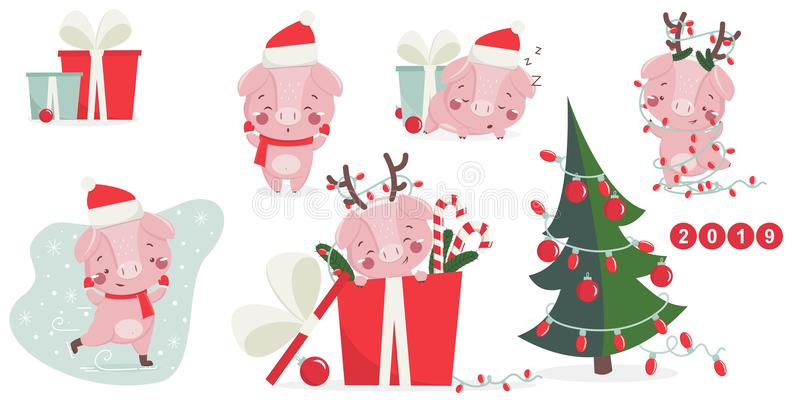 Happy new year greeting card with cute pig. vector illustration