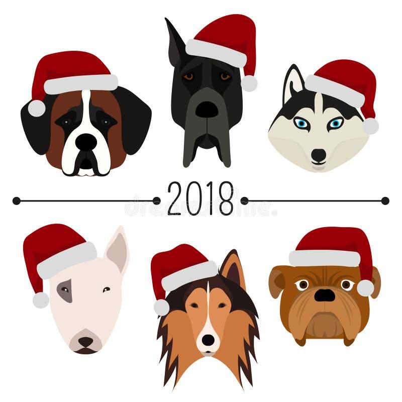 2018. Happy New Year. Set of 6 dog`s head with santa claus cap. Flat design. Pets. Cute doggies. Cartoon character vector illustration