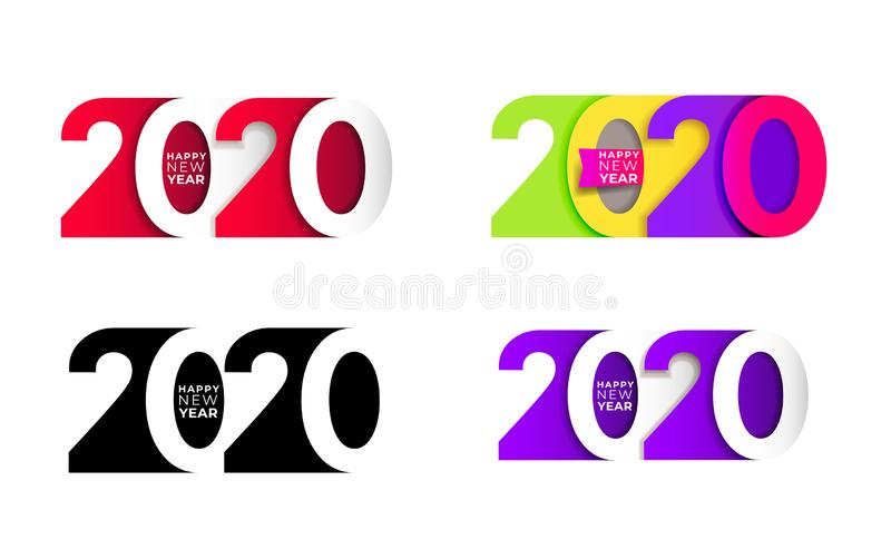 Happy New Year. Set of 2020 number text design typography patter royalty free illustration