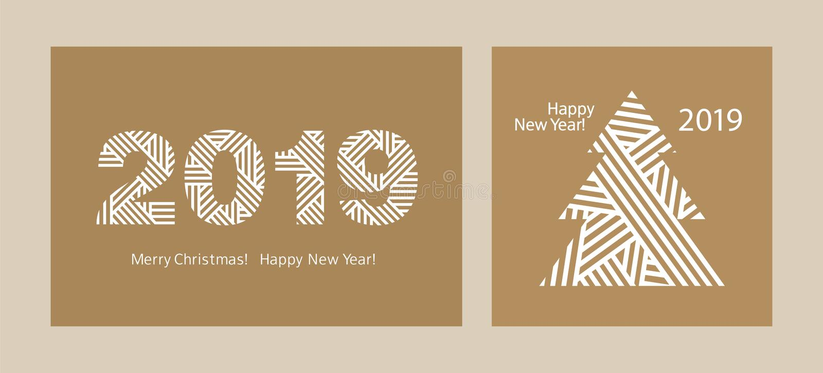 Happy New Year 2019. Set of simple Greeting cards. Merry Christmas. Kraft paper. Vector royalty free illustration