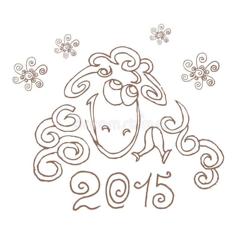 New Year S Line Art : Happy new year sheep hand drawing line art stock