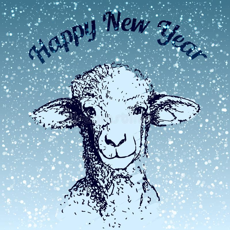 Happy New Year Sheep illustrarion with snowfall and blue background. Happy New Year Sheep illustrarion, merry christmas snowfall vector illustration