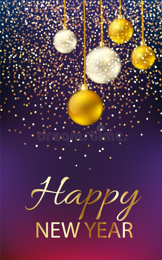 Happy New Year shining background with pearl and golden lettering, baubles, glitters. Happy New Year shining background with pearl and golden lettering, baubles stock illustration