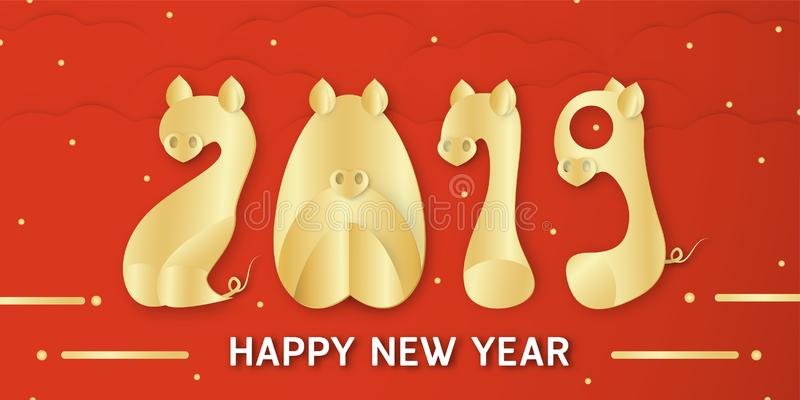 Happy New Year 2019 with shining background for zodiac of pig. V vector illustration