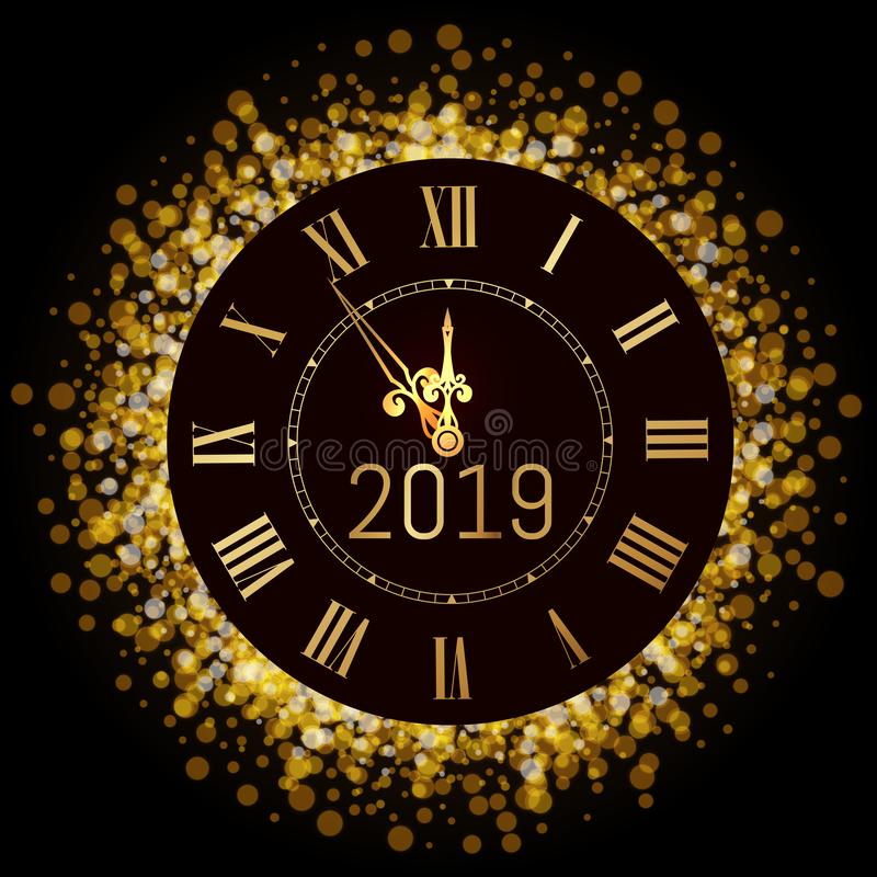 Happy New Year 2020 - New Year Shining luxury premium background with gold clock and  glitter decoration. Time twelve o`clock. stock illustration